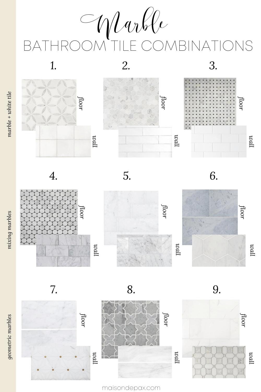 marble bathroom tile combinations