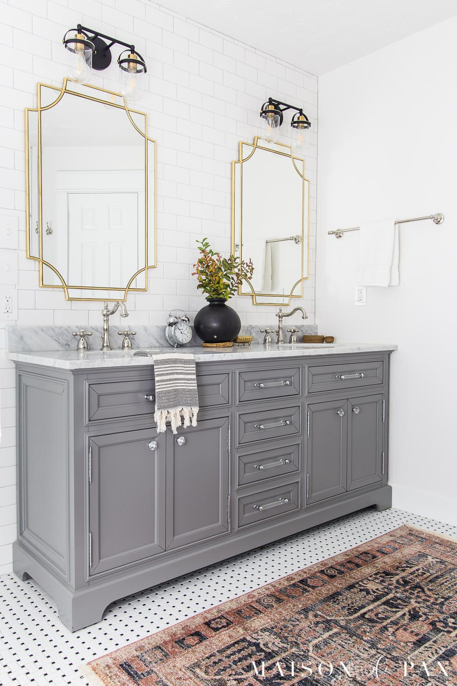 furniture style bathroom vanity painted gray with marble top
