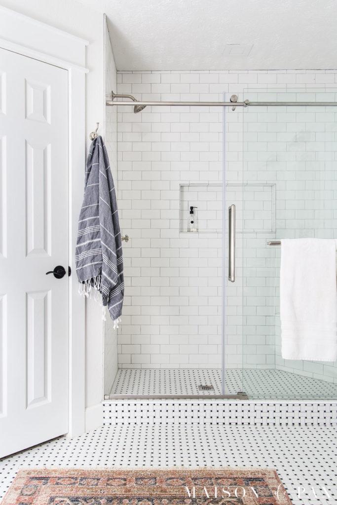 walk in shower with sliding glass door