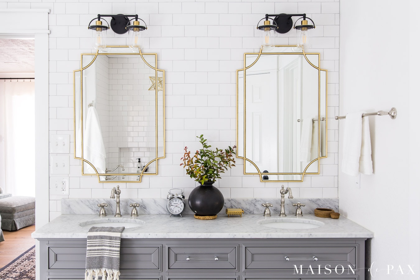 """72"""" double vanity with marble top in master bathroom"""