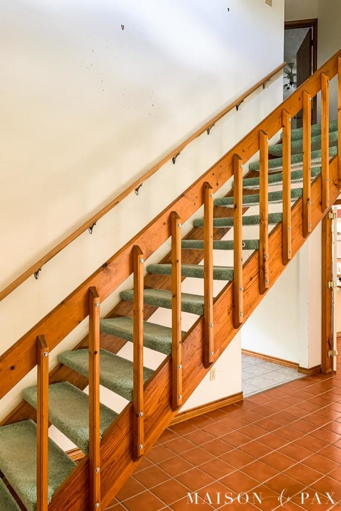 80s wooden stairs before makeover