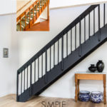 black iron stair railing before and after